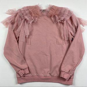 Cq by Cq Womans Pink Ruffle Sweatshirt Sz Small